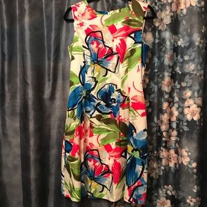 Ellen Tracy White Floral Fit and Flare Dress